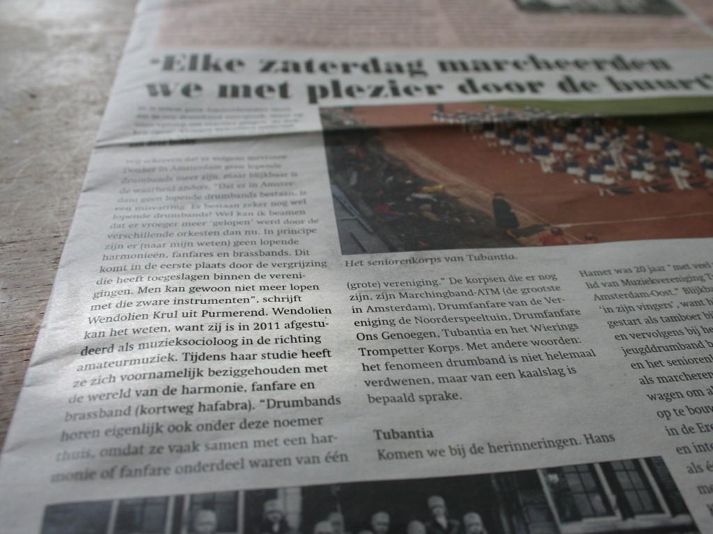 Artikel 'Vroeger marcheerden we door de buurt'.